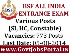BSF Recruitment for SI, HC & Constable Posts 2014