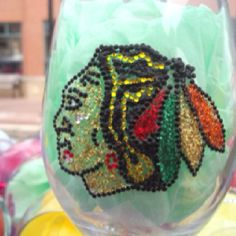 Chicago Blackhawks wine glass on Etsy