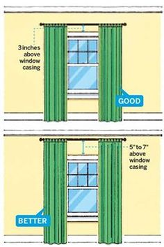 Use Visual Tricks to Raise The Ceiling If your ceilings are on the low side, paint them white to make the room feel less claustrophobic. Hang curtains higher than the windows, suggests Allen-Brett, to trick your eye into thinking the room is taller. Most standard curtain panels measure 84 or 96 inches, allowing you to go about 3 inches above the window casing before the length gets too short. If you want to hang them higher, you'll have to order custom drapes. Love patterned panels? Try…