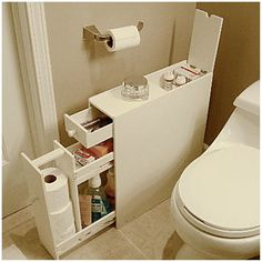 Smart way to add a little extra storage in a small bathroom. Proman Bath Floor Cabinet - Space Savers at Hayneedle Bathroom Floor Cabinets, Bathroom Flooring, Rv Bathroom, Narrow Bathroom, Bathroom Ideas, Bathroom Hacks, Compact Bathroom, Master Bathroom, Bathroom Designs