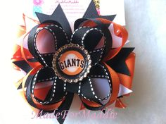 San Francisco Giants INSPIRED Black and Orange Bottle Cap Hair Bow. $5.25, via Etsy.