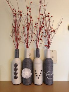 Wine Bottle Decor. LOVE this for the red accent color and woven look. breakfast bar decoration?