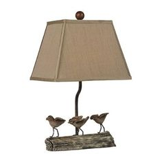 """Sterling Industries Little Birds on Log 18"""" H Table Lamp with Empire Shade"""