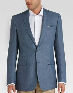 81a90268fe4be Calvin Klein Blue Linen Extreme Slim Fit Sport Coat - Men s Sport Coats -  All