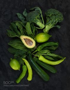 Raw green vegetables set. Broccoli avocado pepper spinach zuccini lime on dark stone backgroun by 2enroute IFTTT 500px summer avocado bio black black background broccoli charlestone dark diet dinner eating