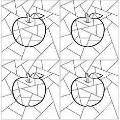 colorare la mela con colori caldi e lo sfondo con colori freddi