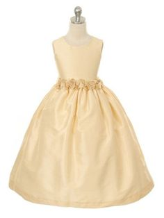 19022e25a5b8 Champagne Poly Dupioni Flower Girl Dress (Sizes Infants to 8 in 6 Colors)