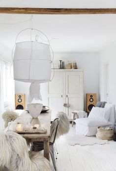 white living with textures