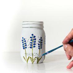 Painted Texas bluebonnet mason jar craft idea. Painted distressed mason jar crafts. How to paint Texas bluebonnets easy diy. Painted blue flower tutorial.