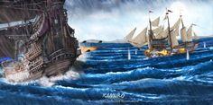 Battleships by Kamuro illustrator on ArtStation.