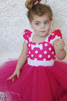 Minnie Mouse dress Hot pink Polka Dots dress TUTU  Party Dress  super twirly  dress 1st Birthday party on Etsy, $58.00