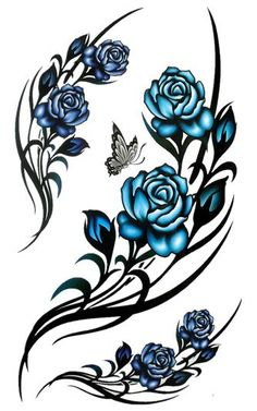 Tribal rose Tattoo Designs but would want red roses Hand Tattoos, Rose Vine Tattoos, Tribal Rose Tattoos, Blue Rose Tattoos, Side Tattoos, Flower Tattoos, Body Art Tattoos, New Tattoos, Small Tattoos