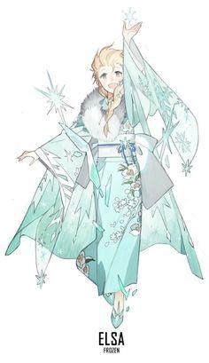 [ Disney Princesses X Kimono ] - Elsa #Disney_Princesses