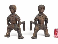 Pair Cast Iron African American Andirons for auction. Fireplace Accessories, Cast Iron, Garden Sculpture, Baskets, Auction, African, Pairs, Statue, Canvas