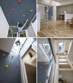 Domestic Daredevils: 12 Insanely Cool Home Climbing Walls. i need an overhang wall like this. maybe under the stairs?