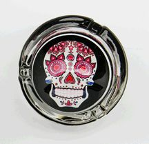 White Glass Day of the Dead Ashtray 3 1/4 inches across  $9.95