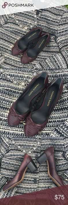 Franco Sarto Pumps Perfect for when you're on your feet all day. Round toe dress pump with elastic topline & decorative bow. Leather. Synthetic Sole. Color Aubergino Franco Sarto Shoes
