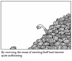 """If Edward Gorey had illustrated the Star Trek episode """"The Trouble with Tribbles"""""""