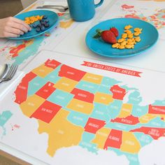 Geography learning placemats for kids from Sarah + Abraham