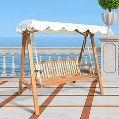 Ultimate relaxing seating option in your garden with a canopy swing seat. From steel tubular contruction, authentic antique designs to the tradition wooden frame varieties. Garden Swing Seat, Garden Canopy, Porch Swing, Outside Swing, Canopy Swing, Swinging Chair, Outdoor Furniture, Outdoor Decor, Wooden Frames