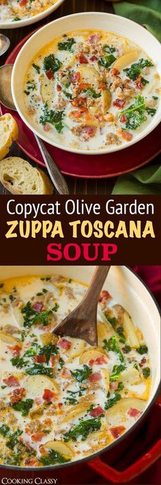 Zuppa Toscana Soup {Olive Garden Copycat Recipe} - this is a go-to soup recipe at our house! Everyone loves it! Zuppa Toscana Soup {Olive Garden Copycat Recipe} - this is a go-to soup recipe at our house! Everyone loves it! Crockpot Recipes, Soup Recipes, Cooking Recipes, Healthy Recipes, Vegetarian Recipes, Recipies, Vegetarian Cooking, Dinner Recipes, Family Recipes