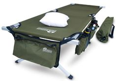 Fold up camping cot with lots of storage pockets and it's comfortable. Better than sleeping on the ground.
