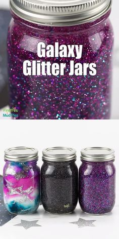 Making a calming glitter jar is a beautiful, easy, and fun activity for kids, and these Galaxy Glitter Jars may be my favorite yet! Made with mason jars, glitter, water, and glue, they are perfect for meditation, stress relief, and for practicing mindfulness. #masonjar