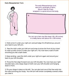 How to make an early Mesopotamian tunic from a bedsheet (or similar sized rectangle of cloth).