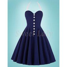 Krásne tmavomodré šaty a áčkovou sukňou v štýle vintage