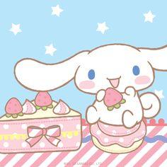 Cinnamoroll enjoying a sweet treat!  What is his favorite treat?