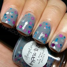 Better watch out or you'll be Hypnotize-d by this polish! Hypnotize features fuchsia and teal dots and silver holo hexes!