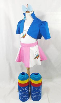 Redesigned: Rainbow Dash MLP Cropped Jacket Skirt Boots