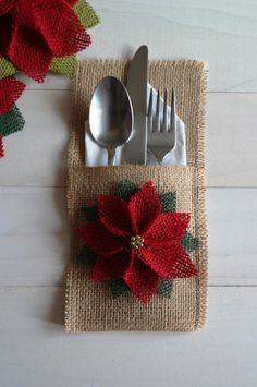 Burlap Utensil / Silverware Holder with Poinsettia Flower / Christmas Holiday…