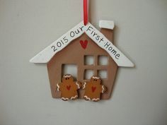 Our first home 2015 skeleton key ornament with peppermint ribbon