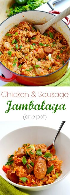 chicken and sausage jambalaya is a delicious one pot meal that is perfect for Mardi Gras, or any time of year! Cajun Recipes, Chicken Recipes, Cooking Recipes, Healthy Recipes, Skillet Recipes, Cooking Gadgets, Pizza Recipes, Cooking Videos, Sauces