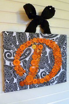 Button Letter Wall Art -- Orange Button Monogram on Black and White Paisley 8x10 Canvas -- by Letter Perfect Designs #EasyPin