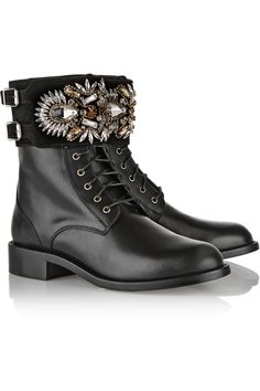René Caovilla|Crystal-embellished suede and leather ankle boots|NET-A-PORTER.COM