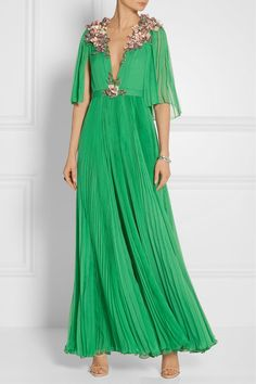 Light-emerald silk-chiffon Concealed hook and zip fastening at back 100% silk Spot clean Made in Italy