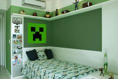 Boys Minecraft Bedroom, Minecraft Room, Creeper Minecraft, Kids Homework Room, Small Boys Bedrooms, Thomas Bedroom, Gamer Room, Kids Bedroom Furniture, Kids Room Design