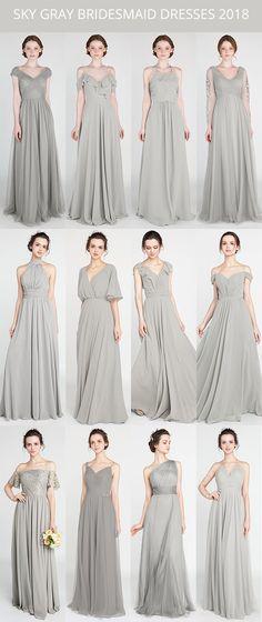 sky gray bridesmaid dresses for 2018 #bridalparty #bridesmaiddress #weddings