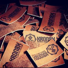 Fine leather labels for the upcoming line of tees, pillows and bags