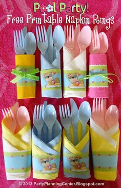 Free Printable Pool Party Napkin Rings with Matching Invitation and Gift Bags