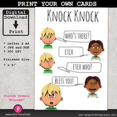 Pin by kate pullen on printable greeting cards pinterest early knock knock joke etch who greeting card for kids instant download printable pdf jpg birthday card invitations funny card for children bookmarktalkfo Image collections