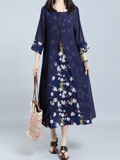Vintage 3/4 Sleeve Floral Printed Fake Two Pieces Dresses