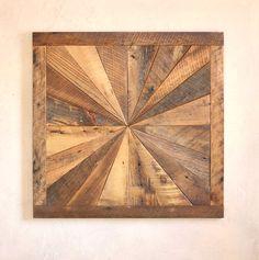 Starburst pattern wall art made from reclaimed wood - Barn wood wall art