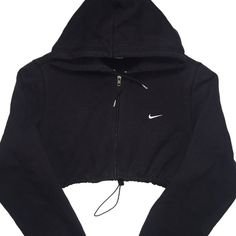 Reworked Nike Zip Up Crop Hoody Blk ($48) ❤ liked on Polyvore featuring nike