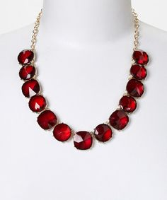 Another great find on #zulily! Red Crystal Bib Necklace #zulilyfinds