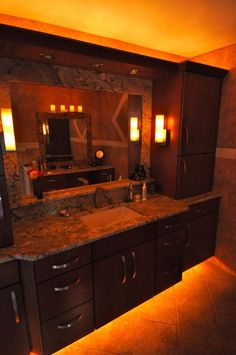 LED rope lights under the bathroom vanity?!? Great idea! :)