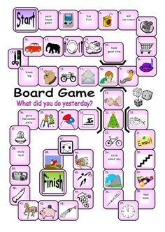 present to past tense activity free printable game - Google 搜尋