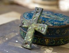 Medieval OOAK Cross Pendant  Handcrafted Metalwork by Inviciti #medieval #ancient #handmade #virdigris #cross #inviciti